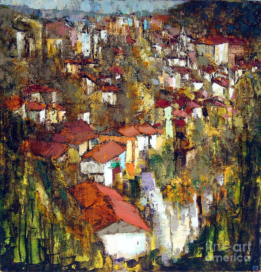 Landscape Painting - Veliko Tarnovo - Panorama by Michael Stoyanov