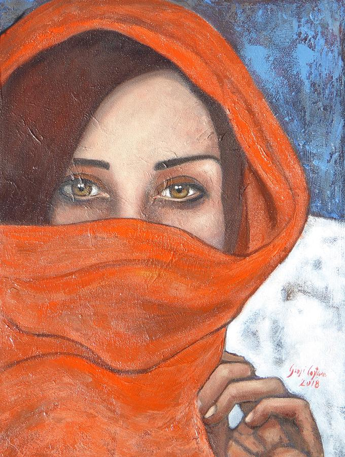 Portrait Painting - Velo Rosso by Giosi Costan