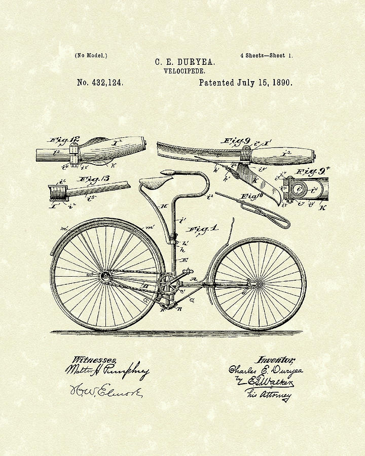 Duryea Drawing - Velocipede 1890 Patent Art by Prior Art Design