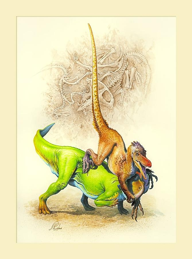 Velociraptor Vs Protoceratops Painting By Artur Lobus