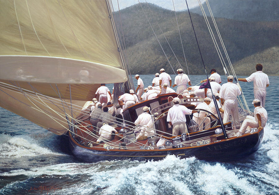 Classic Yacht Painting - Velshedas Run by Julia OMalley-Keyes