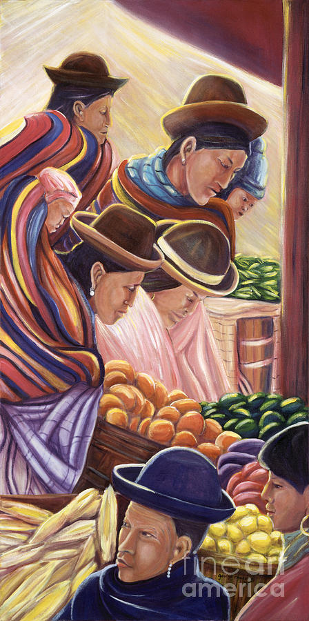Colorful Painting - Vendors In La Paz Bolivia by George Chacon