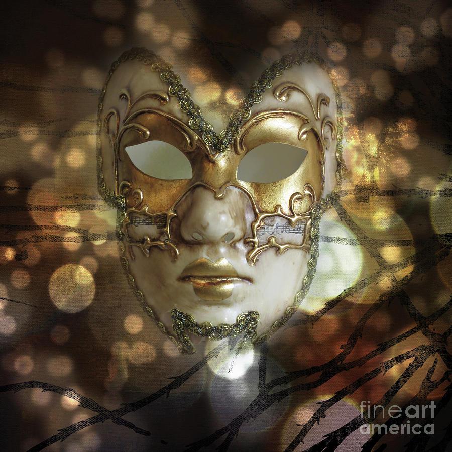 Mask Photograph - Venetian Golden Mask by Barbara Dudzinska
