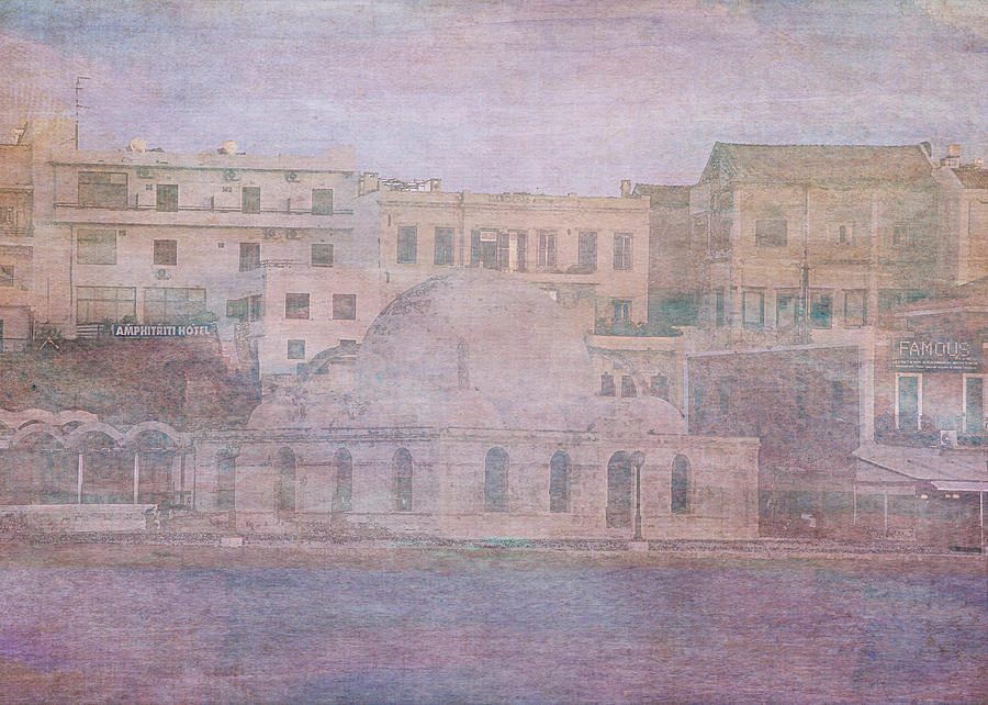 Chania Digital Art - Venetian Harbour, Chania by Sarah Vernon