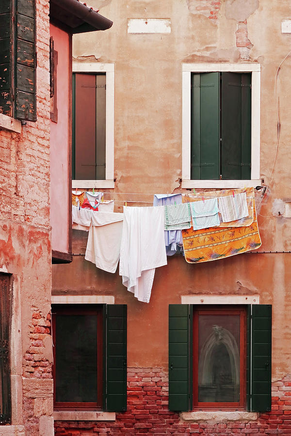 Venice Photograph - Venetian Laundry In Peach And Pink by Brooke T Ryan