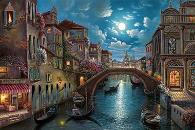 Venetian Moonlight Painting by Suleyman Mavruk