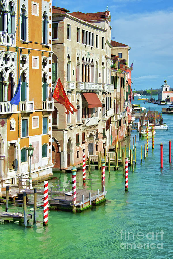 Venice Painting - Venetian Palaces by Delphimages Photo Creations