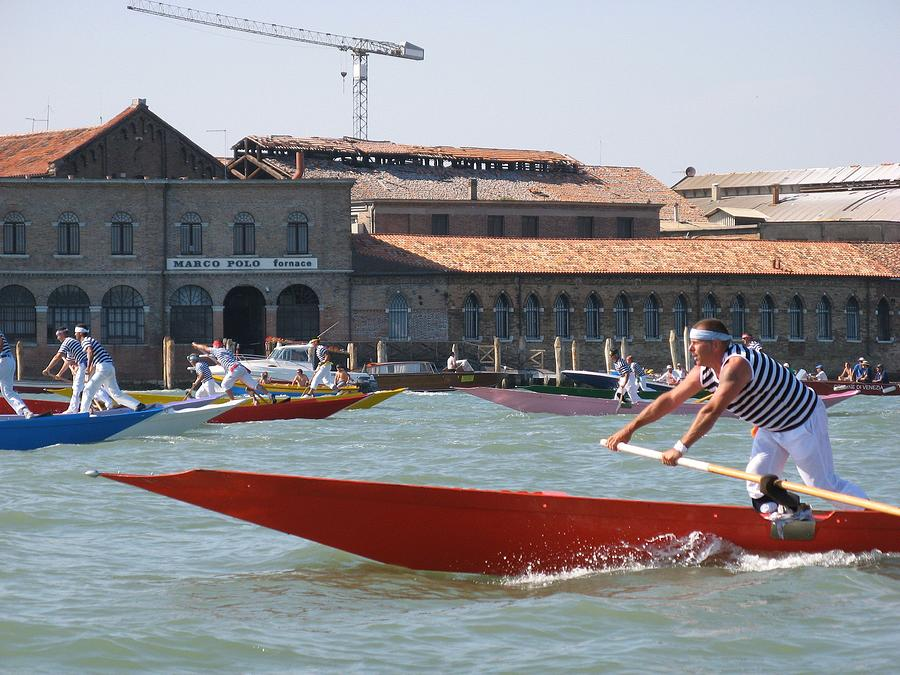 Venice Photograph - Venetian Rowing Racers by Erla Zwingle