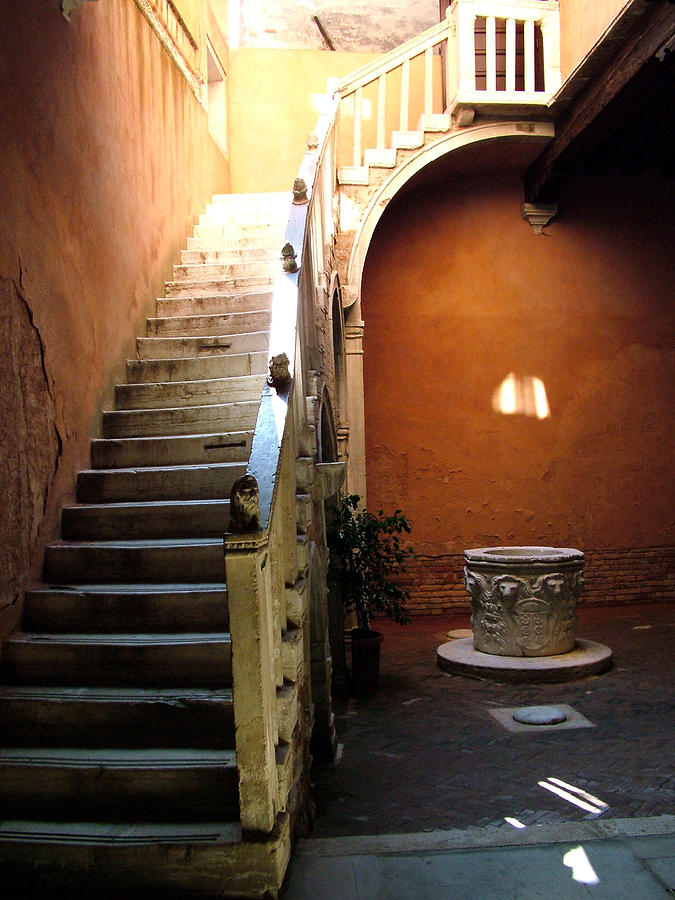 Architecture Photograph - Venetian Stairway by Donna Corless