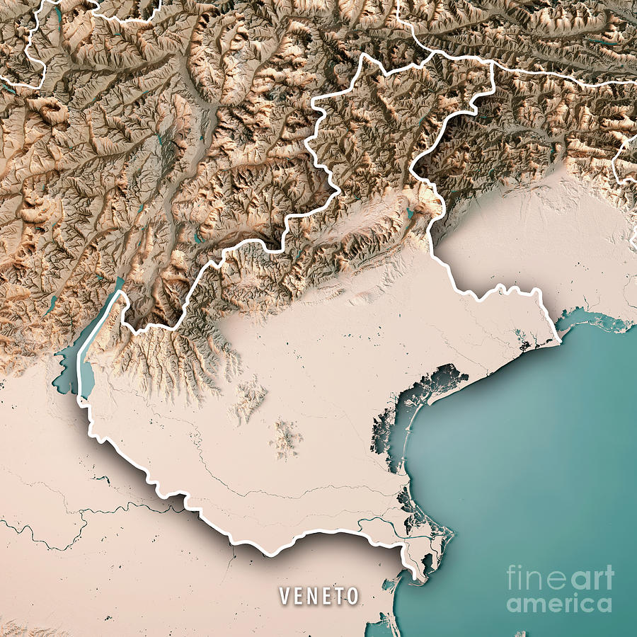 Topographic Map Italy.Veneto State Italy 3d Render Topographic Map Neutral Border Digital