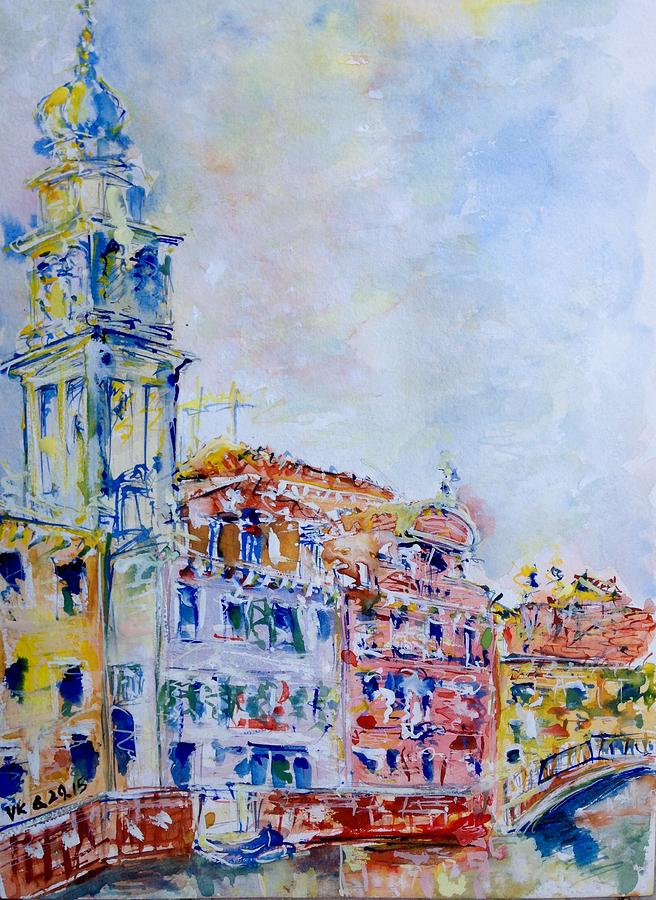 Watercolor Painting - Venice 6-29-15 by Vladimir Kezerashvili