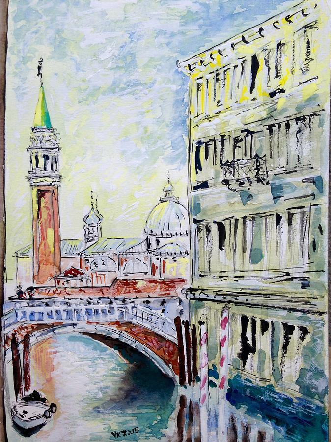 Watercolor Painting - Venice 7-2-15 by Vladimir Kezerashvili