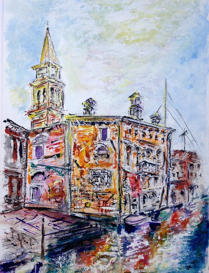 Watercolor Painting - Venice 7-3-15 by Vladimir Kezerashvili