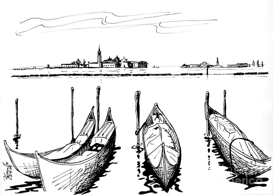 Wine Sketch Drawing - Venice by Andrew Cravello