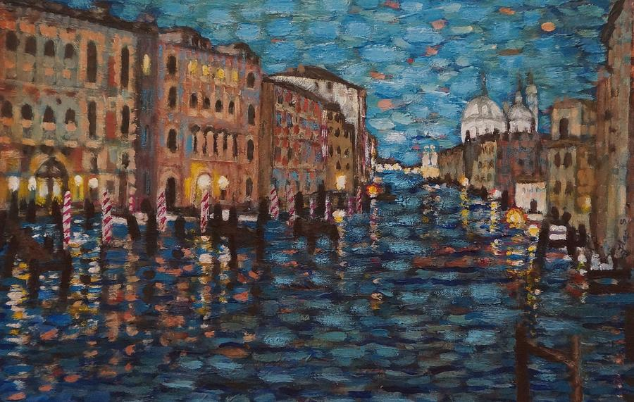 Landscape Painting - Venice At Night by Fran Steinmark