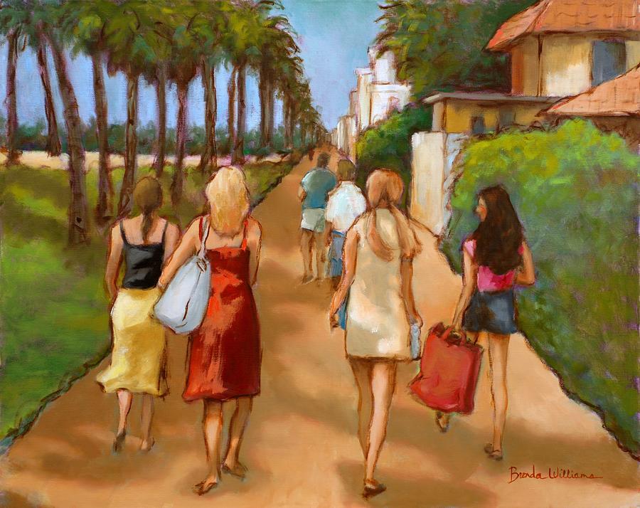 Girls Painting - Venice Beach Promenade by Brenda Williams