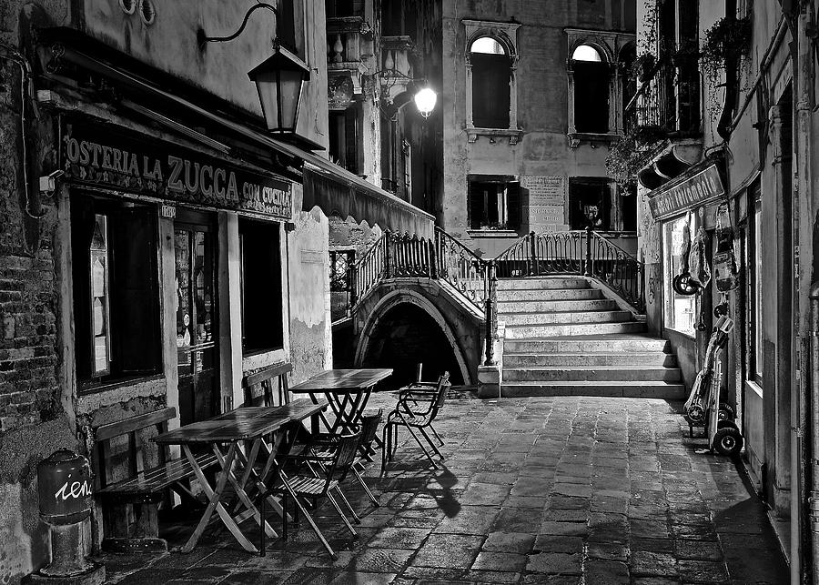 Venice photograph venice black and white night by frozen in time fine art photography