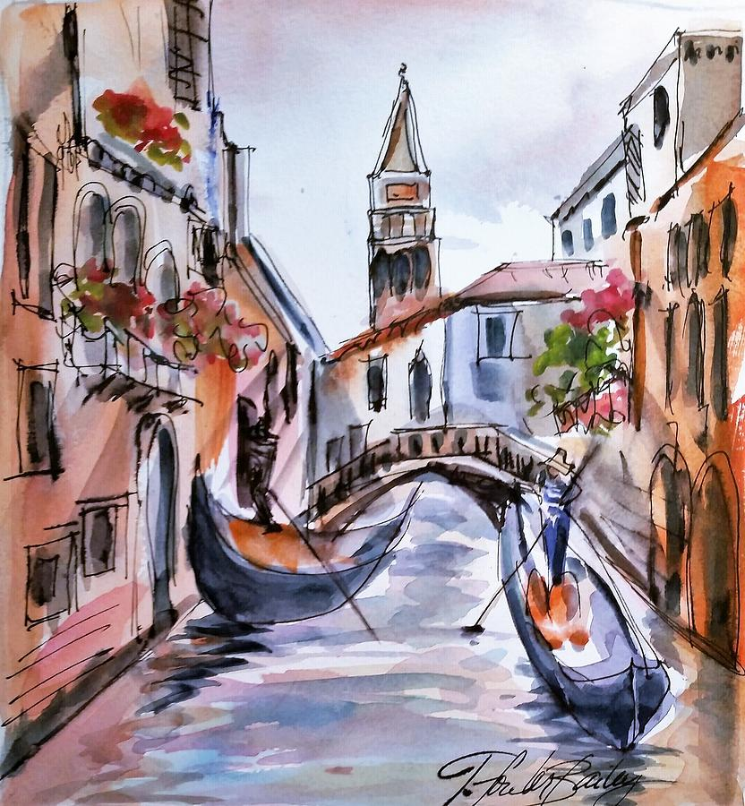 Venice Campanile From Gondola Sold Painting by Therese Fowler-Bailey