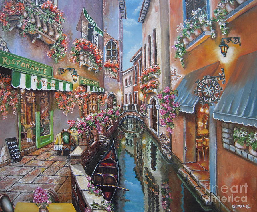 Venice Painting - Venice Canal Reflections by Elizabeth Gomez
