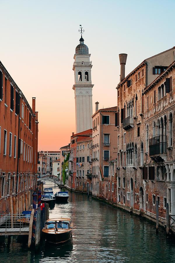 Venice Photograph - Venice Canal San Giorgio Dei Greci by Songquan Deng