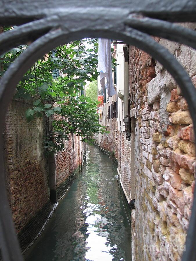 Capri Photograph - Venice Canal Through Gate by Italian Art