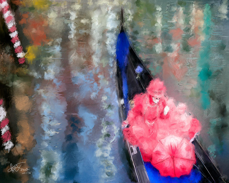 Venice Carnival. Masked Woman in a Gondola by Juan Carlos Ferro Duque