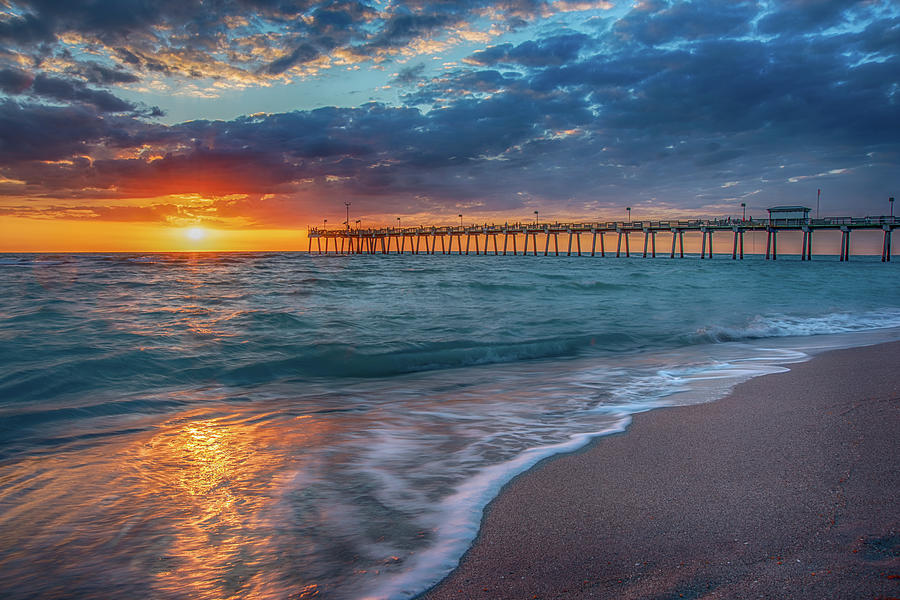 Clouds Photograph - Venice Fishing Pier by Don Miller