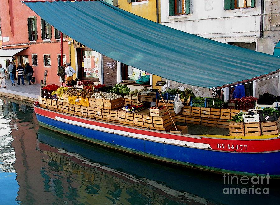Capri Photograph - Venice Fresh Market Boat by Italian Art