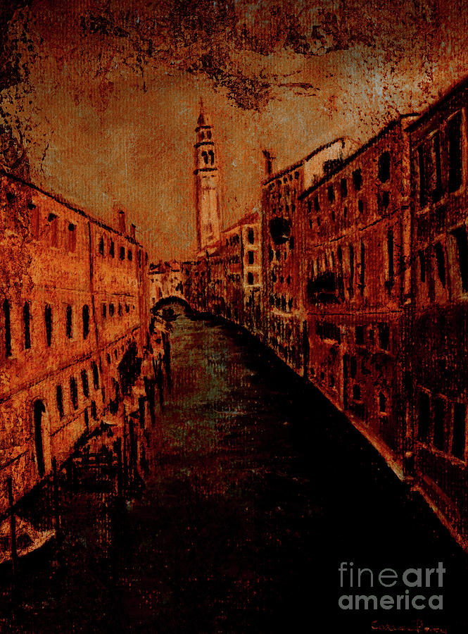 Canal Painting - Venice In Golden Sunlight by Callan Art