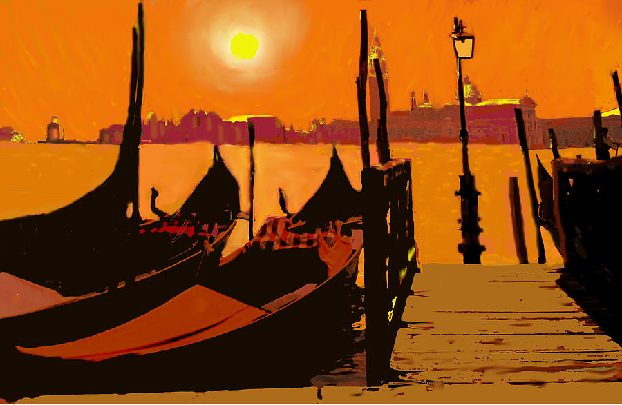 Venice Digital Art - Venice In Orange by Ian  MacDonald