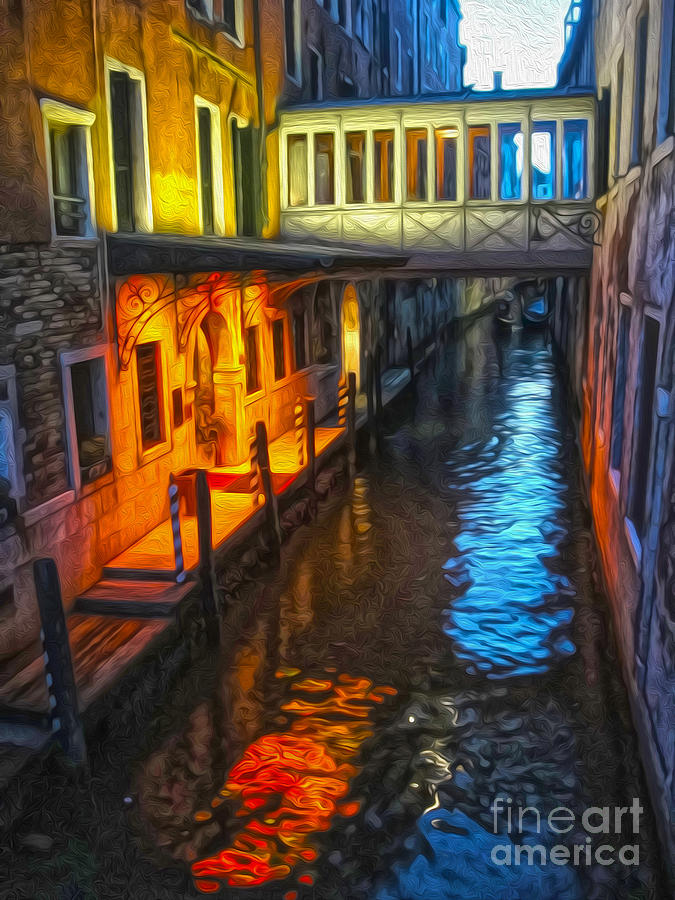 Venice Italy Painting - Venice Italy - Colorful Canal At Night by Gregory Dyer