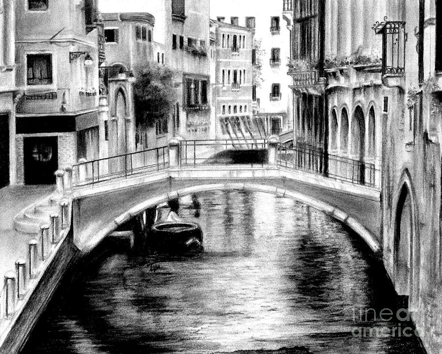 Charcoal landscape painting venice italy by snazzyhues
