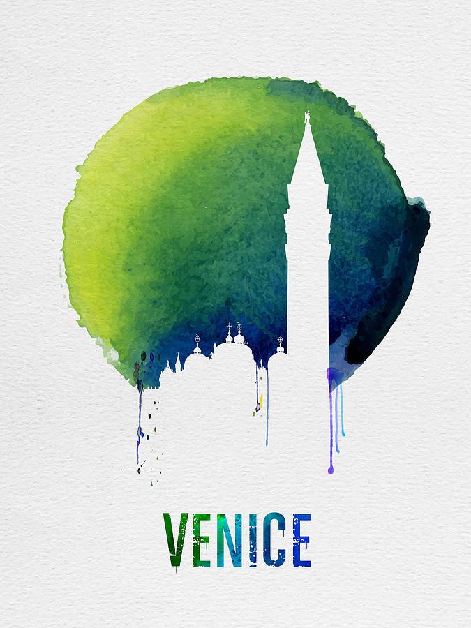 Venice Painting - Venice Landmark Blue by Naxart Studio