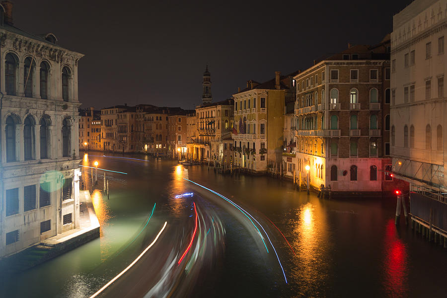 Venice Photograph - Venice Night Traffic by Andrew Lalchan