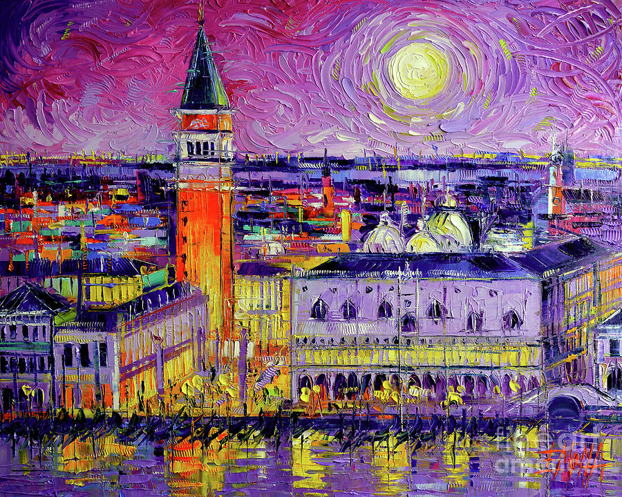 Night Painting - Venice Night View Modern Textural Impressionist Stylized Cityscape by Mona Edulesco