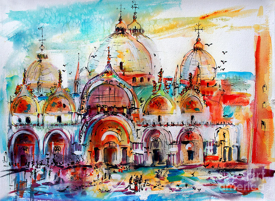 Venice Piazza Saint Marco Basilica Painting by Ginette Callaway