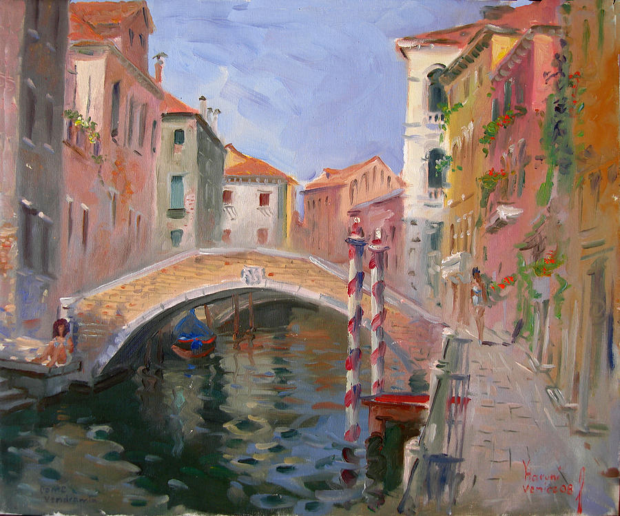 Venice Painting - Venice Ponte Vendrraria by Ylli Haruni