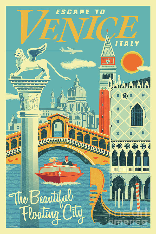 Mid Century Modern Digital Art - Venice Poster - Retro Travel  by Jim Zahniser