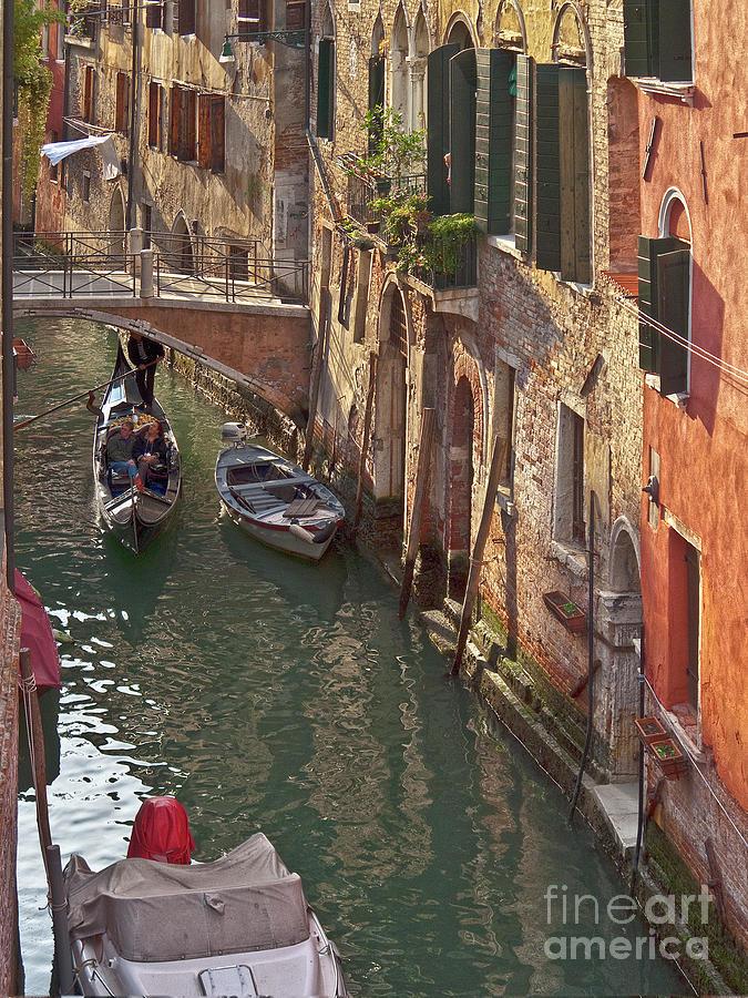Venice Photograph - Venice Ride With Gondola by Heiko Koehrer-Wagner