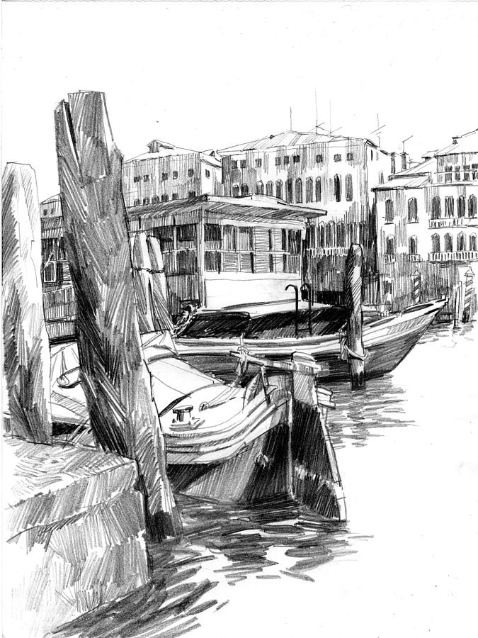 Venice drawing venice sketches vaporetto jetty by igor sakurov
