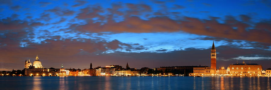 Venice skyline night panorama view by Songquan Deng