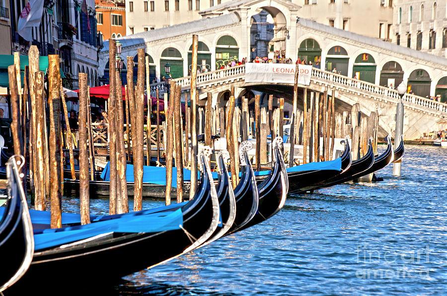 Venice Photograph - Venice Sunny Rialto Bridge by Heiko Koehrer-Wagner