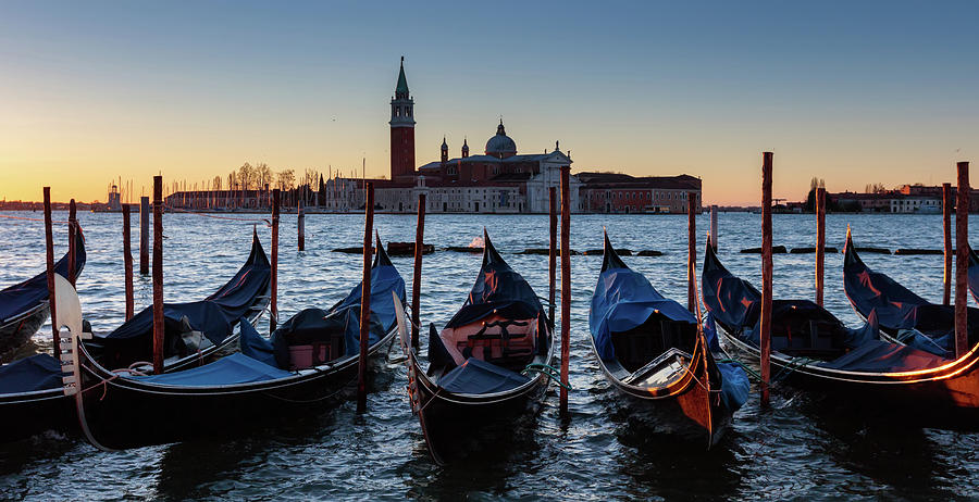 Italy Photograph - Venice Sunrise With Gondolas by Evgeni Dinev