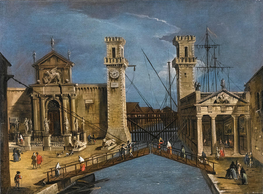 Venice the Entrance to the Arsenale Painting by Circle of Francesco Guardi