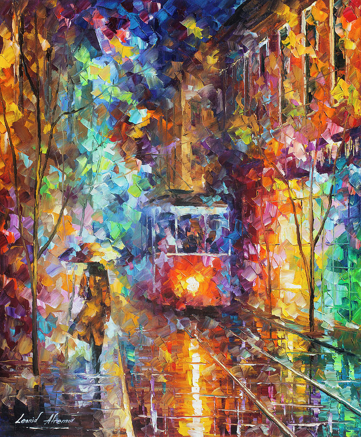 Painting Painting - vening Trolley  by Leonid Afremov