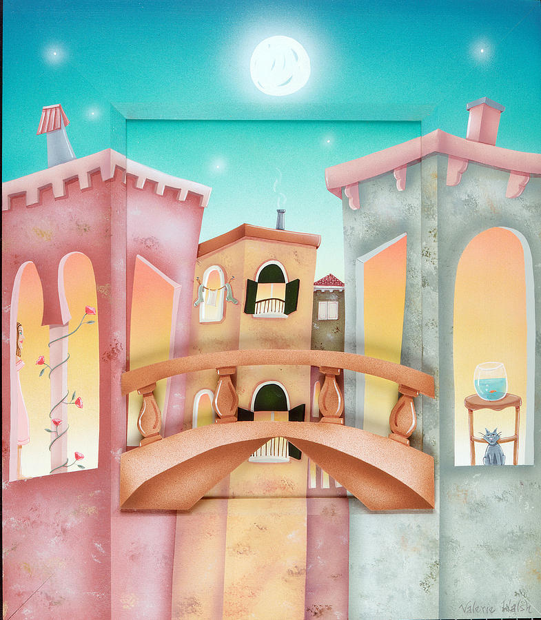 Houses Painting - Venitian Night 2 by Valerie Walsh