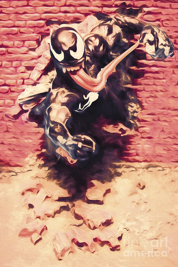 Venom Breaking Brick Wall Painting By Jorgo Photography