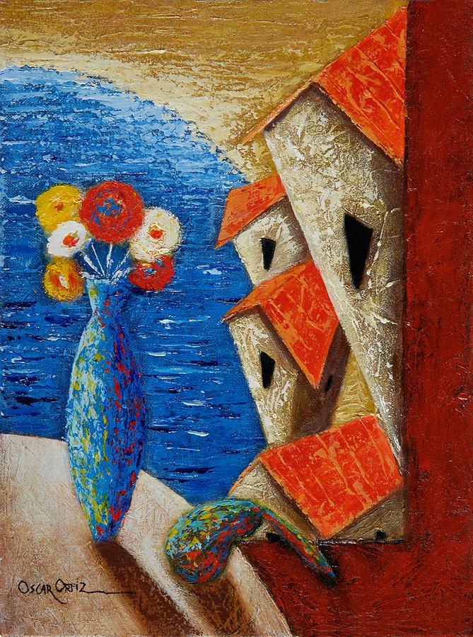 Landscape Painting - Ventana Al Mar by Oscar Ortiz