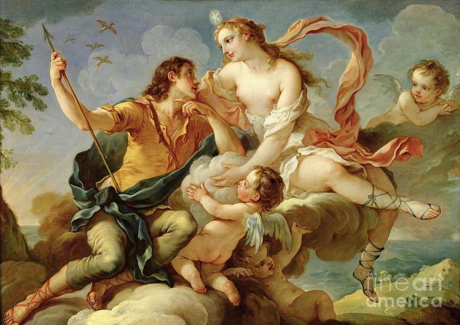 Venus Painting - Venus And Adonis  by Charles Joseph Natoire