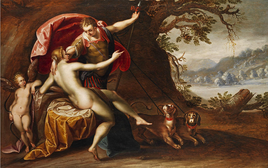 Greek Mythology Painting - Venus and Adonis with hounds by Hans von Aachen and Workshop